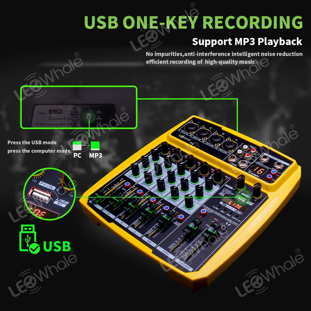 LEOwhale Pro 6-Channel  Audio Mixer Interface DJ Mixing Console Karaoke Sound Card  With16DSP Digital Effects Bluetooth Monitor enlarge