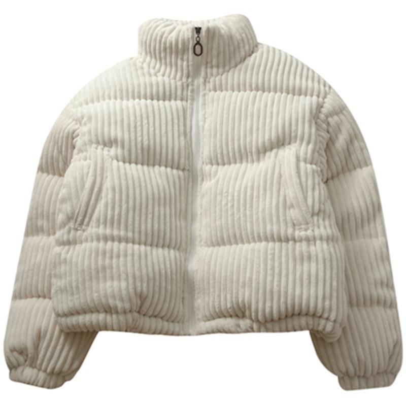 New Autumn Winter Women's Cotton Coats Corduroy Turtleneck Female Parkas Loose Trendy Ladies Outerwe