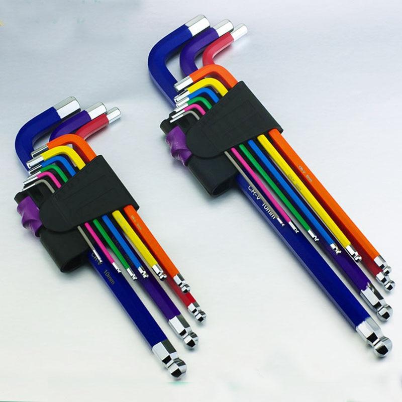 9 قطعه 1.5 میلی متر -10 میلی متر کد رنگی کلید آلن سحر و جادو آلن کلید آچار مجموعه ای از گشتاور متریک طولانی با ابزار دستی آستین ، لوازم جانبی دوچرخه