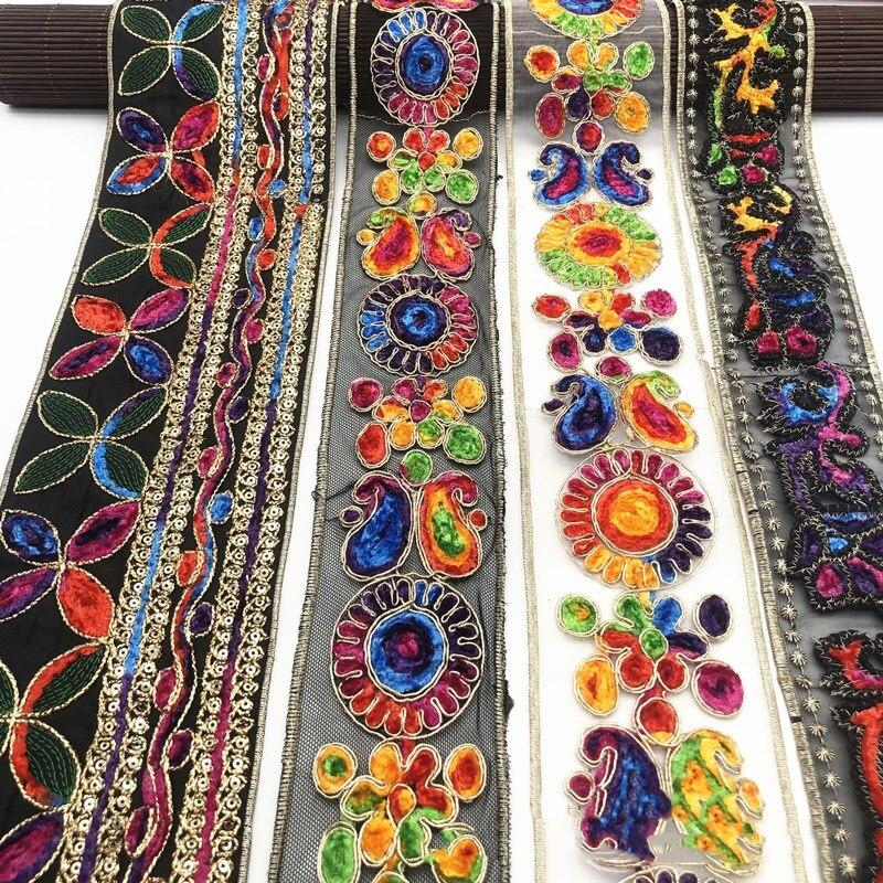 1 Yards ethnique fil dor paillettes dentelle africaine garnitures ruban bricolage couture robe décoration tissu brodé