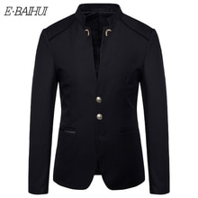 E-BAIHUI Men's Suit Autumn New Style Men's Fashion Trend Small Suit Button Decoration Suit Jacket Q0