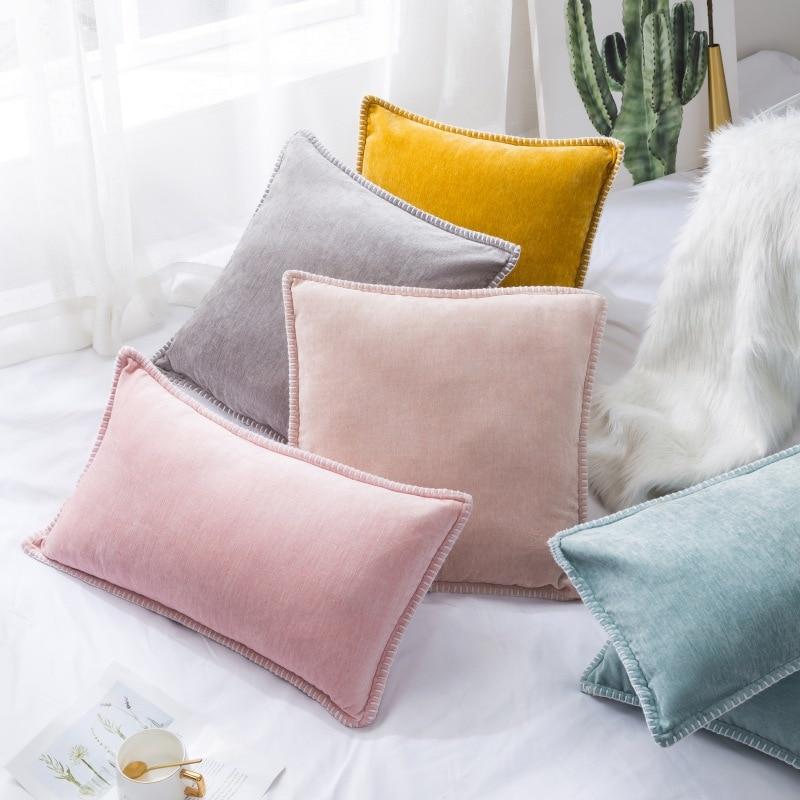 Funda de almohada de chenilla sólida funda de cojín de lino recortada a medida bordes funda de almohada decorativa para sofá cama sala de estar