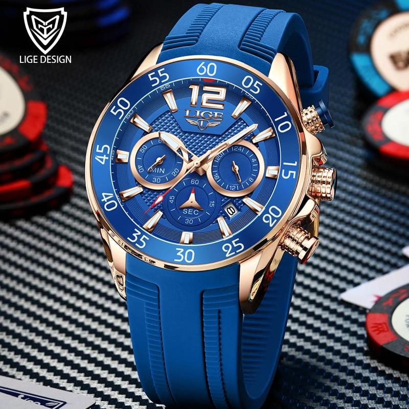 2021 Relogio Masculino Sport Watch LIGE Top Brand Luxury New Fashion Quartz Watch Waterproof Chronog