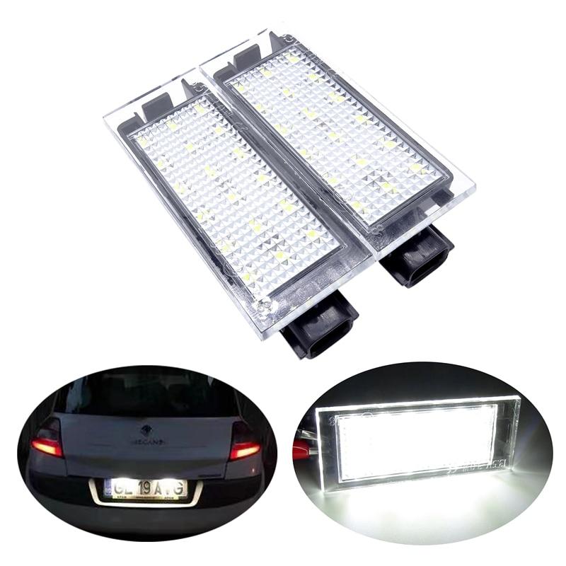 1 par de 18 LEDs blanco para matrícula de coche lámpara de luz de 2 pines apto para Renault Clio MK III Laguna MK II Vel Satis 2006, 13,5 V