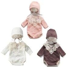 Baby Cotton Hat Romper Set Newborn Photography Props Bonnet Cap Jumpsuit Suit Outfit Infants Photo S