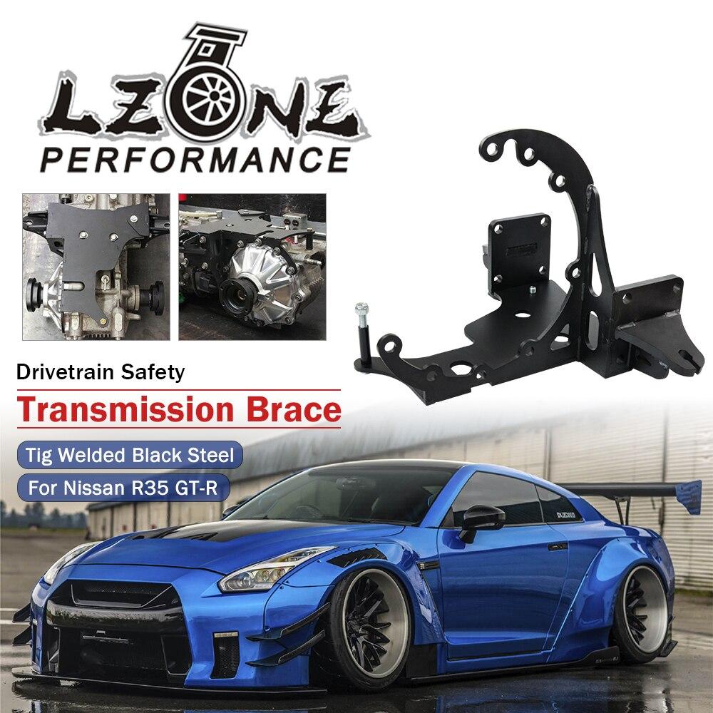 Soporte de transmisión de seguridad para deportes de motor para Nissan R35 GT-R GTR GR6 tren de transmisión Tig soldado de acero negro recubierto