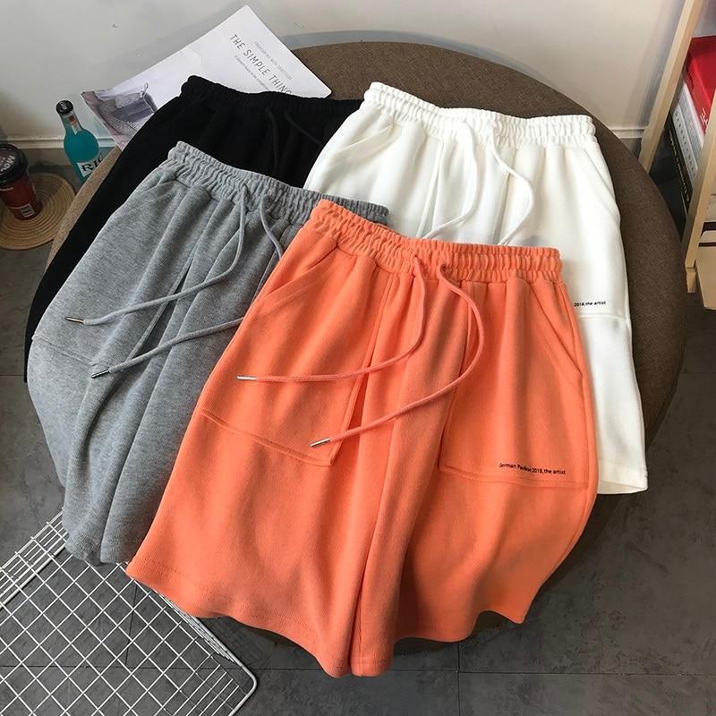 Summer High Waist Wide Leg Short Pants Women black Knee Length Pants Drawstring Korean pure cotton Casual loose Holiday Trousers
