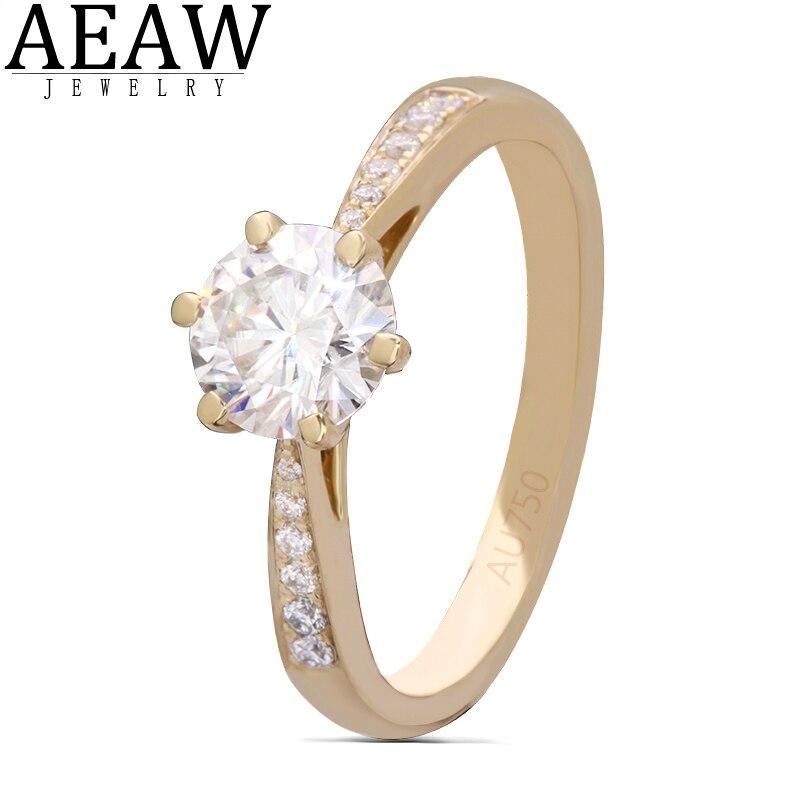 Aeew 6,5mm 1.0ct corte redondo 10k 14k anillo de oro amarillo molissanita media eternidad tamaños Original deslumbrante joyería femenina