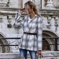 plaid blazers women autumn notched long sleeve double breasted slim suits jacket coat without belt high street lady 2021
