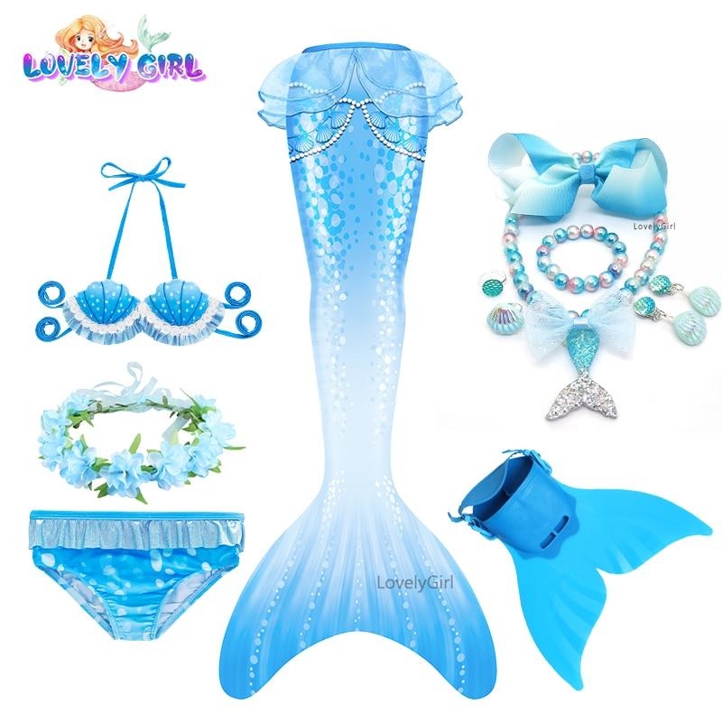 LovelyGirl Cosplay Costume Swimmable Mermaid Tail bikini kids with Fin Girls Beach Mermaid Swimsuit