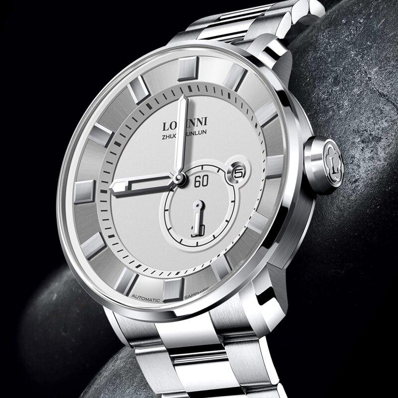 Suisse LOBINNI hommes montres marque de luxe Phase de lune Auto mécanique hommes horloge saphir cuir relogio masculino L16012-1