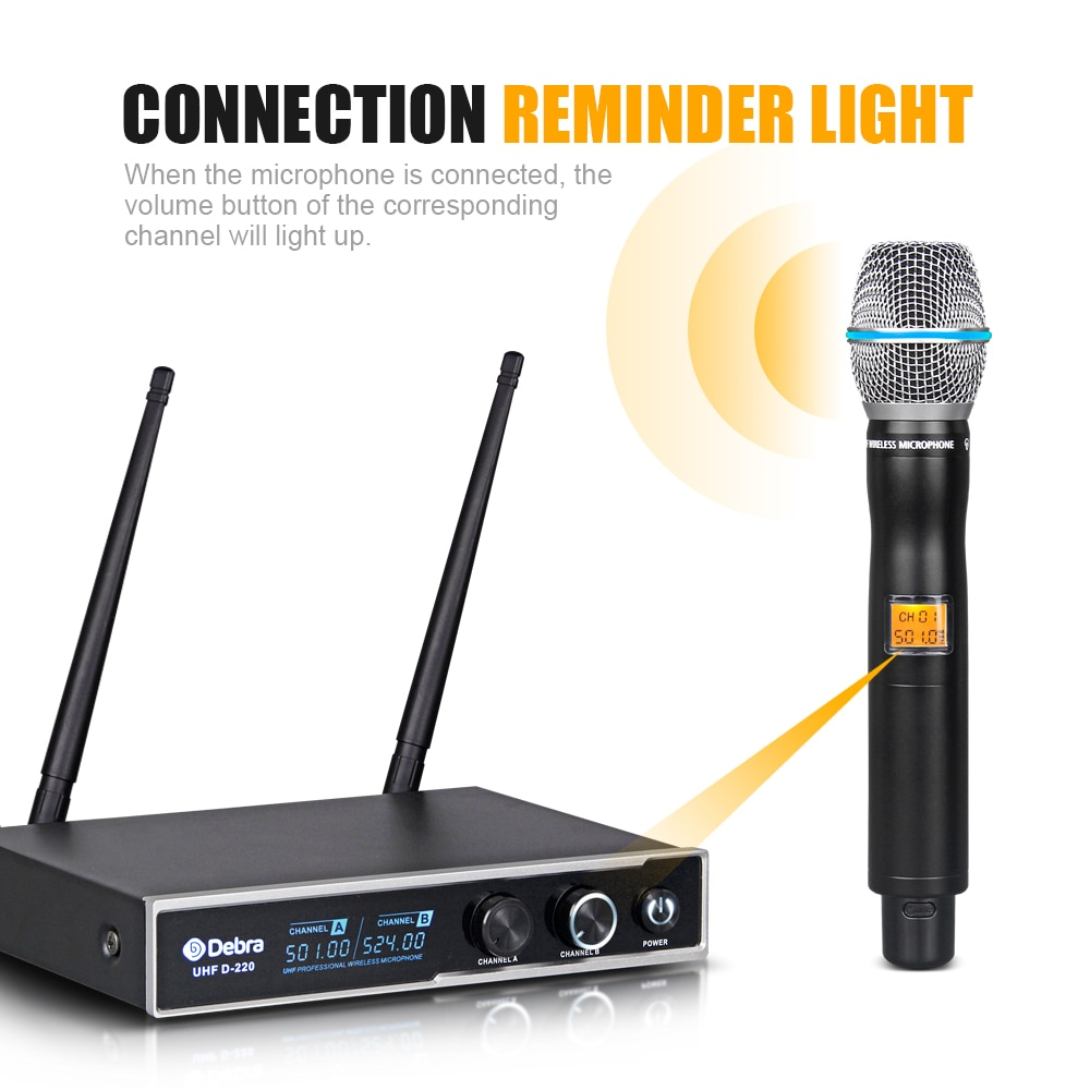 Good sound!!!Debra Audio D-220 2 Channel 80m Range with 2Handheld Mic UHF Wireless All Metal Microphone System For Karaoke enlarge