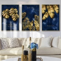 luxury wall art golden leaf wall art prints canvas paintings blue posters decorative wall art prints living room home decor