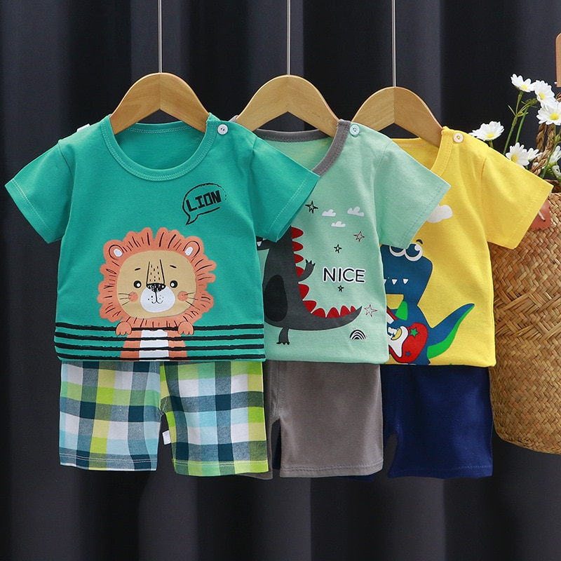 AliExpress - Baby Boy Clothes 2-Pieces T-Shirt Shorts Set Cute Cartoon Printed Outfits Summer Cotton Boys Tees Toddler Girls Sets