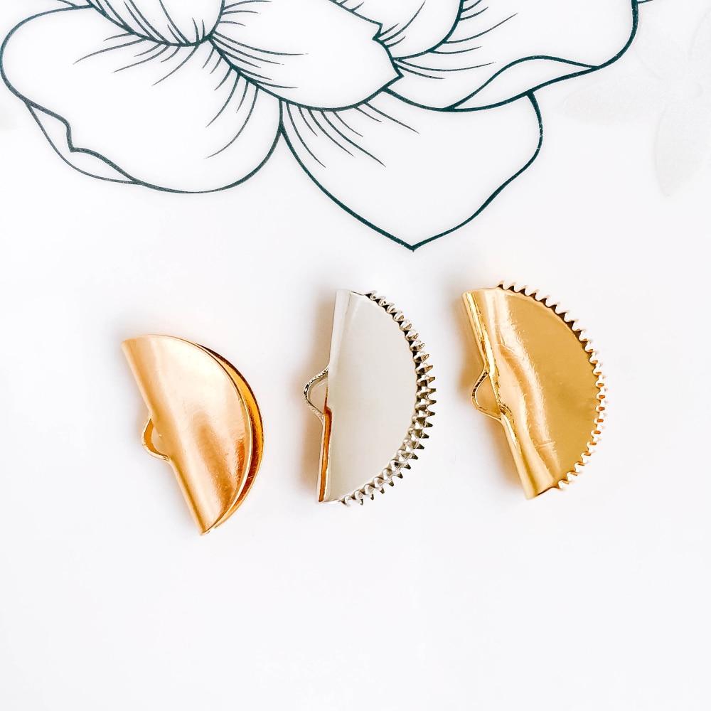 ZEROUP 10 Uds Metal plegadores tapas para Cordón de cuero plano blanco K oro Color final cierre conectores corchetes fabricación de joyas