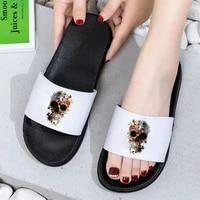 2021 hot summer women slippers flowers skull harajuku beach slides home slippers slip on sandals female shoes flip flops