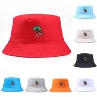 bucket cap round hats printed beach cherry fisherman hat unisex hat casual folding bucket hat men hats for women outdoor
