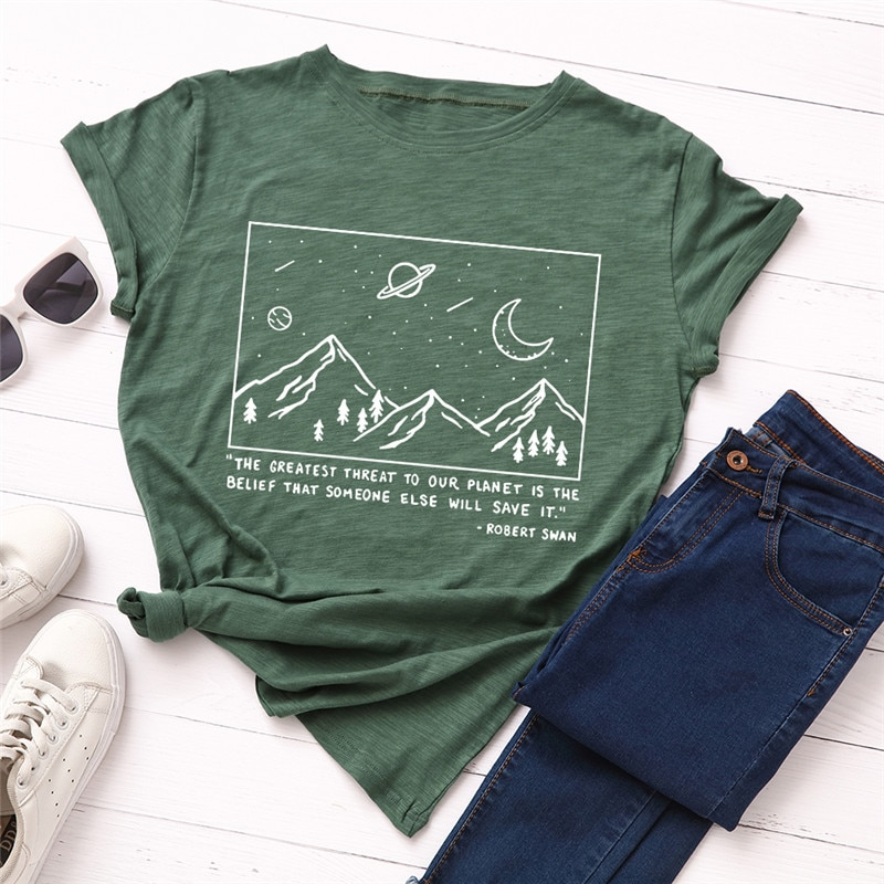 Plus Size S-5XL Mountain Letter Print 100%Cotton T-Shirt Women O Neck Short Sleeve Tees Summer T Shirt Shirts Pink Tops