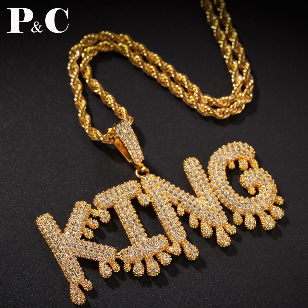 A-Z, заказное имя, маленькие капельные Пузырьковые буквы, ожерелья и подвески, цепочка со льдом, мужские ювелирные изделия в стиле хип-хоп с 4 м...