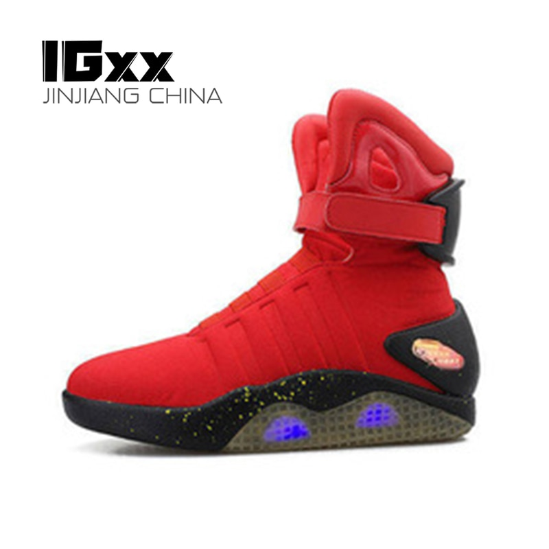 IGxx-أحذية رياضية عالية LED للرجال ، أحذية رياضية عالية الجودة مع إضاءة LED ، قابلة لإعادة الشحن عبر USB ، أحذية مضيئة من الخلف إلى المستقبل ، رمادي