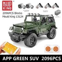 mould king 13124 high tech rc car 2000pcs building blocks off road vehicle remote control model bricks kid toys christmas gift