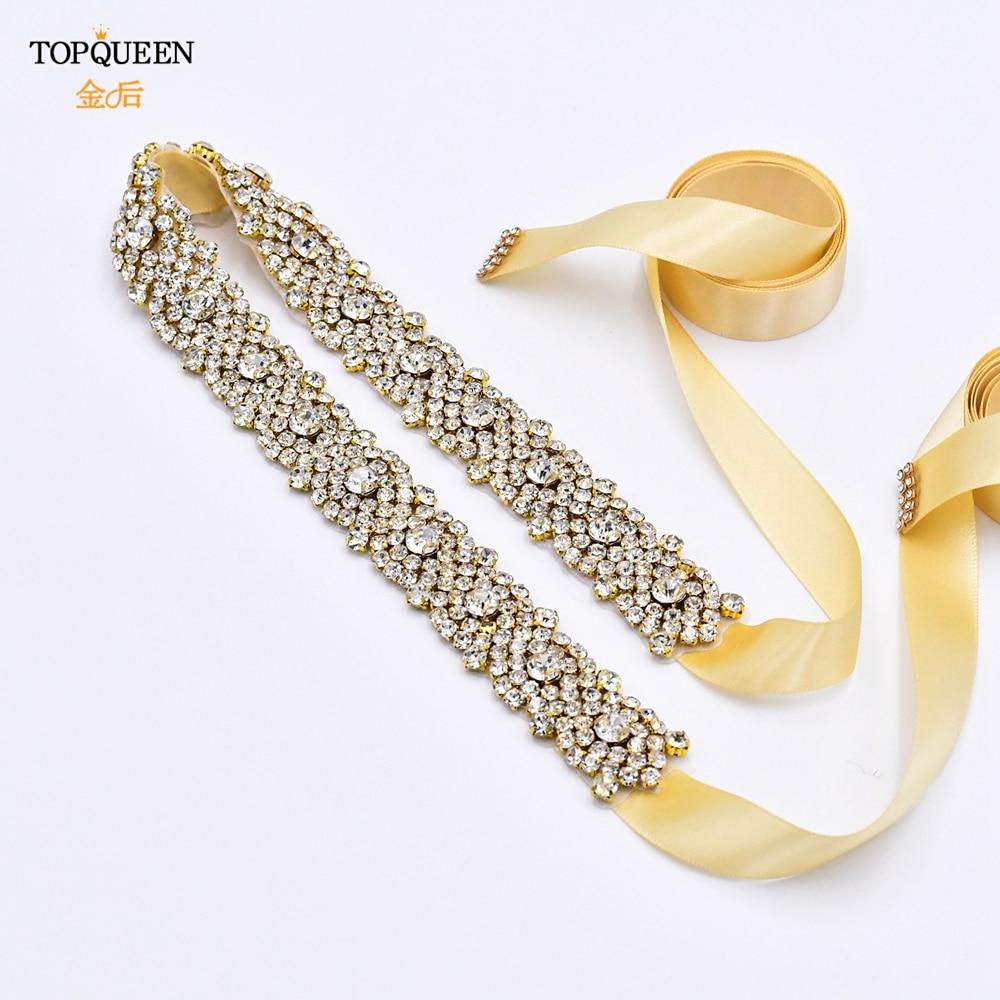 TOPQUEEN S28B-G Wedding Belt Woman Belts with Rhinestones Prom Dresses Ladies Chain Belt Bridal Belts Gold Wedding Accessories