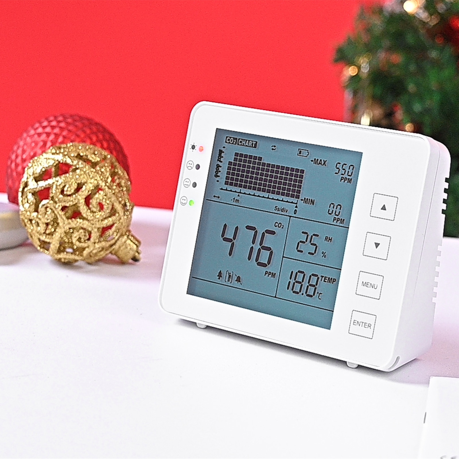 Air Quality Detector Temperature And Humidity Wall Mounted Carbon Dioxide Detector Air Quality Monitor NDIR Sensor Data Recorder enlarge