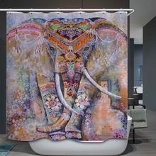 인도 다채로운 코끼리 인쇄 방수 폴리 에스터 샤워 커튼 벨벳 안티-슬립 목욕 매트 세트 화장실 커버 주방 카펫