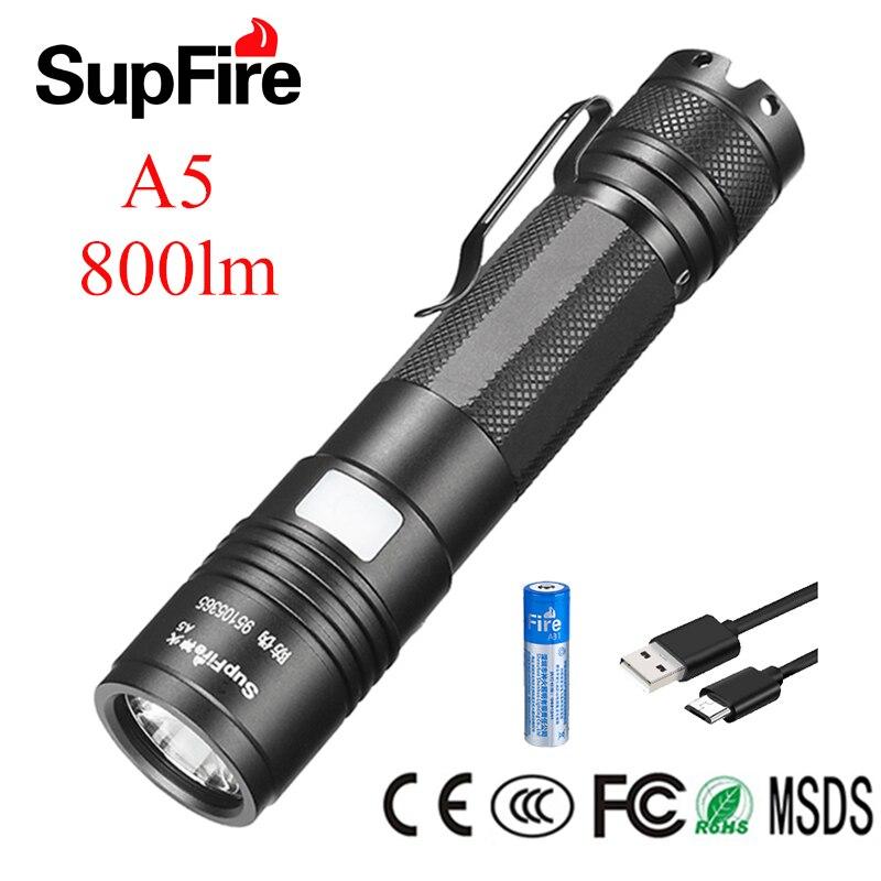 Supfire A5 светодиодный светильник для вспышки Linterna USB мини Фонарь ручной светильник Lanterna 800-2000lm велосипедный светильник Zaklamp 18650 перезаряжаемая ...