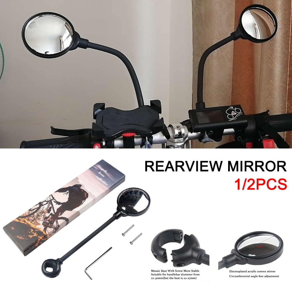 1/2pcs Bike Rearview Mirror Mountain Road Bicycle Handlebar Wide Angle Rearview Mirror Motorbike Cycling Accessories
