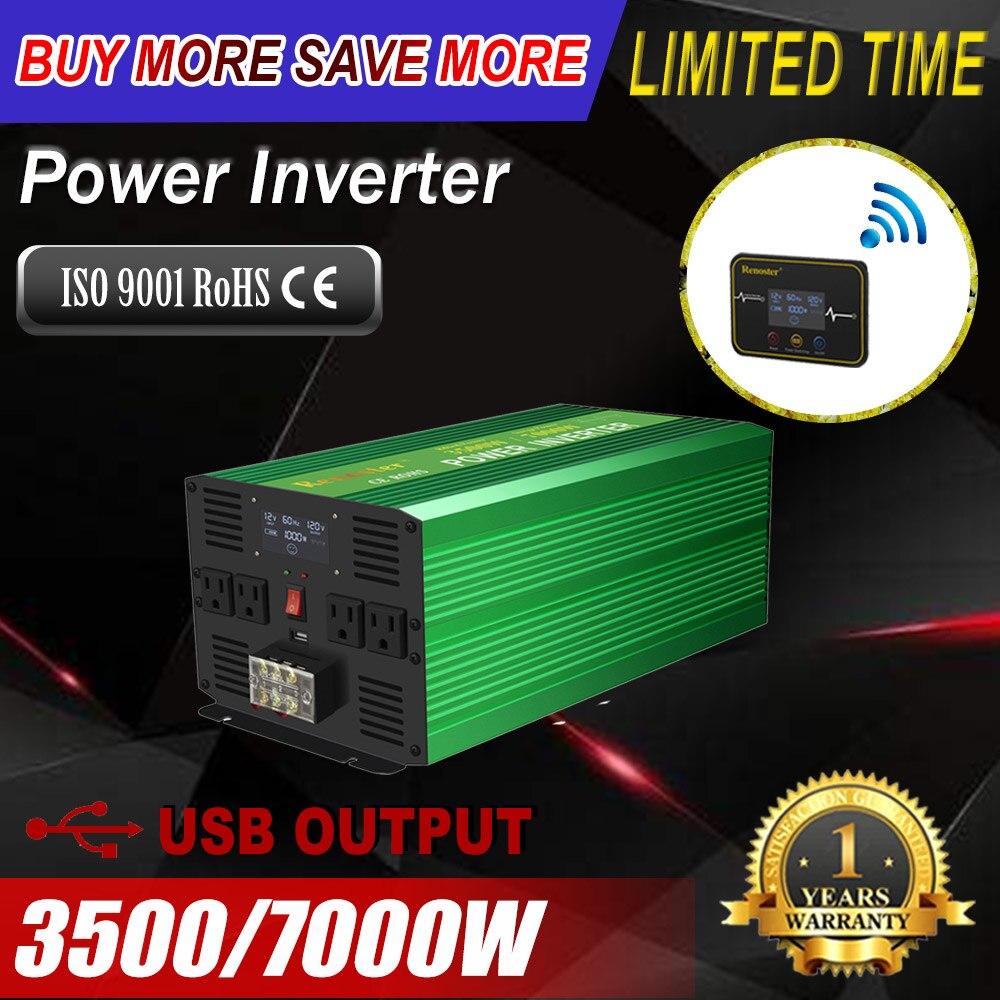 Wirelss чистая Синусоидальная волна инвертирующий усилитель мощности UPS 3500/7000W солнечный инвертор 12V постоянного тока до 110V Сетевой адаптер-переходник с пультом дистанционного управления светодиодный для автомобиля