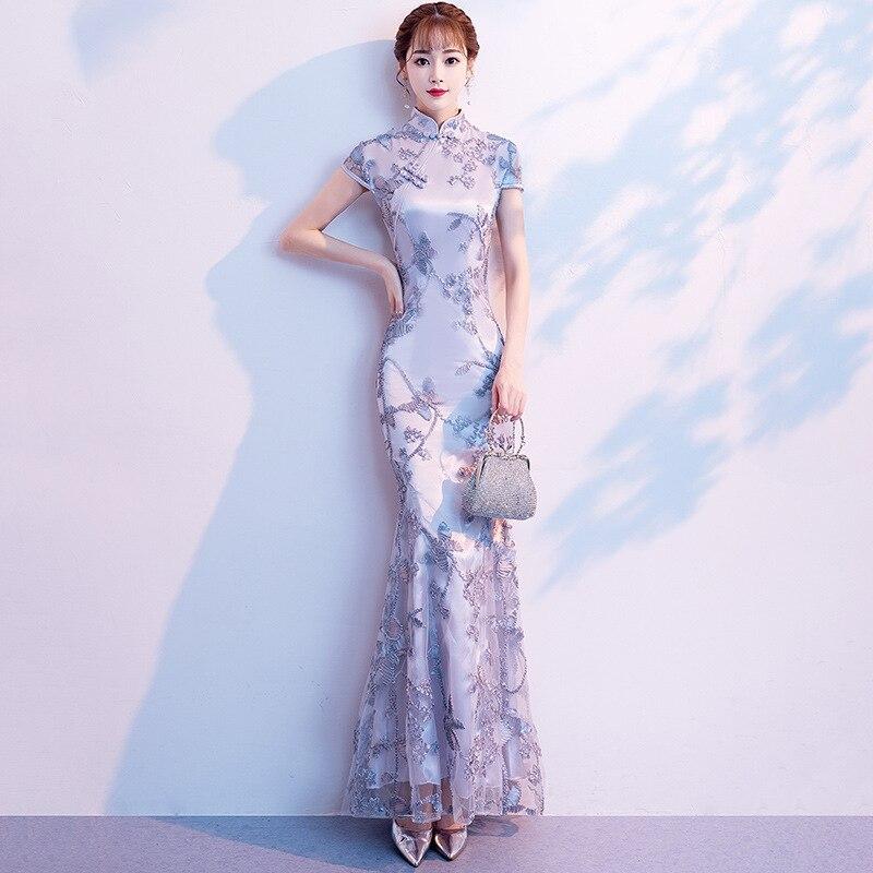 فستان زفاف صيني مطرز من الدانتيل للنساء أنيق Chongsam حريمي حورية البحر الصينية فستان سهرة قصير الأكمام للحفلات Qipao