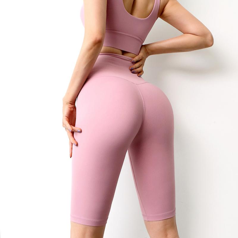 NORMOV Women Short Leggings Sexy Gym Fitness High Waist Leggins Push Up Elasticity Solid Color Workout Legging