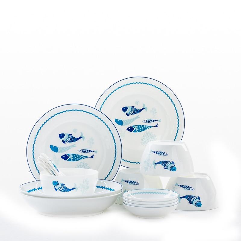16pcs set, fine bone china dinner plate sets, fish design, porcelain dinner sets bowl set, ceramic servies set, table service,