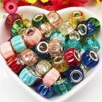10pcs color stripe resin murano rondelle big hole european beads fit pandora charms bracelet chain spacer beads necklace jewelry