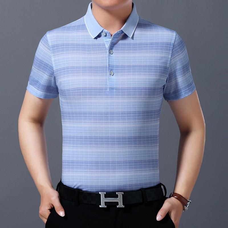 Летняя мужская одежда, рубашка-поло в цветную полоску, деловая Повседневная рубашка-поло, рубашка-поло с коротким рукавом