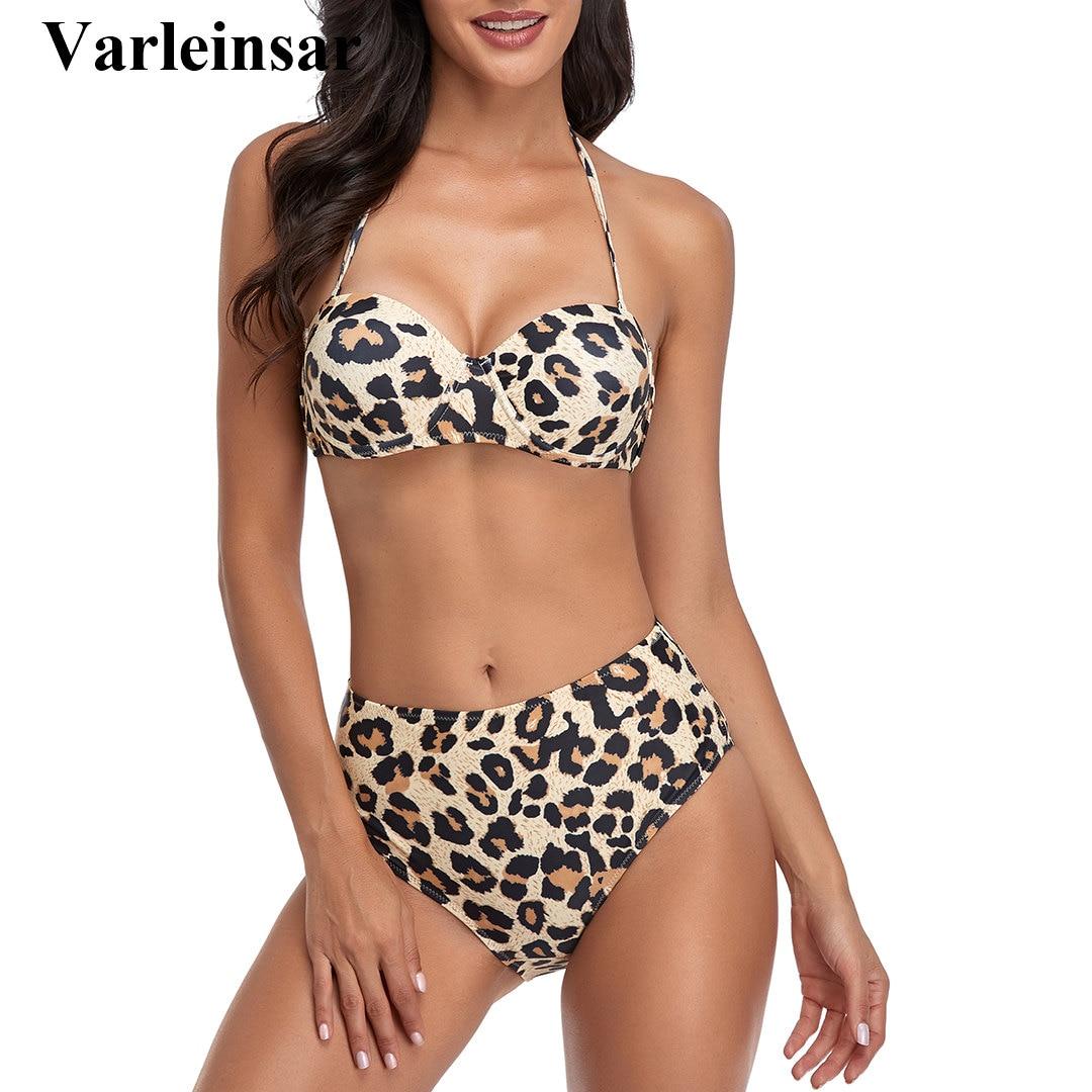 Taille haute Bikini Push Up maillot de bain maillot de bain pour femme femmes deux pièces ensemble Bikini avec soutien-gorge tasse baigneur Bandeau maillot de bain V2649