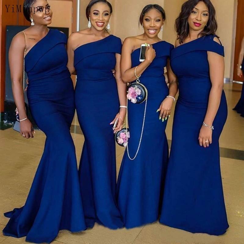Vestidos de dama de Honor YiMinpwp con imagen Real y un hombro, vestidos de sirena para invitados de boda, vestidos de dama de Honor, vestido barato de talla grande