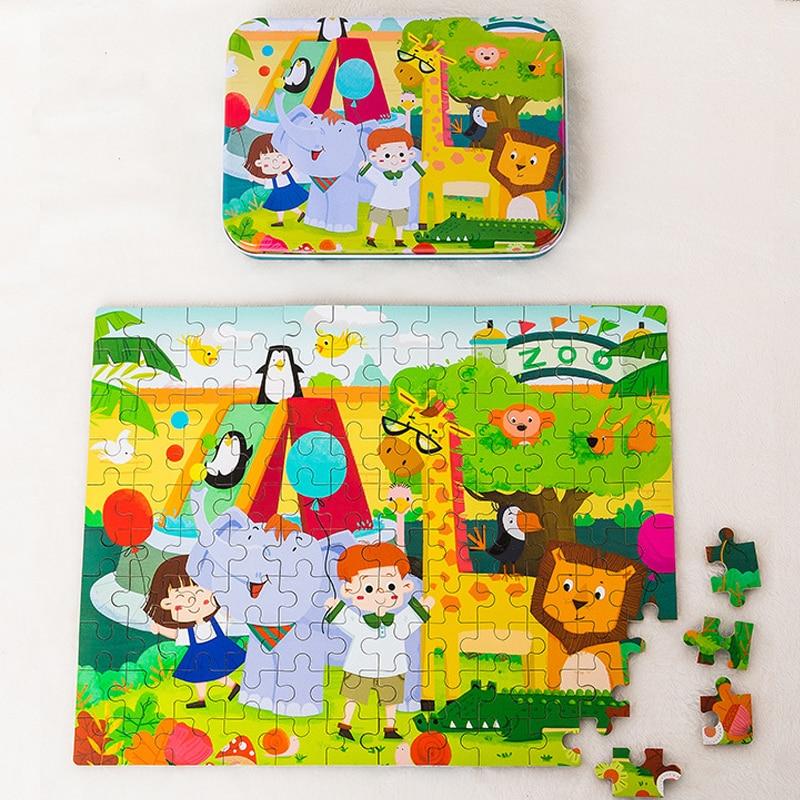 Деревянные пазлы для детей, деревянные головоломки с мультяшными животными, Детские Обучающие Игрушки для раннего развития, подарок на Рож...