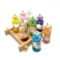 transparent glass bottle shaped pendant resin filled colored balls conch crystal diy making jewelry earrings 5 pieces wholesale