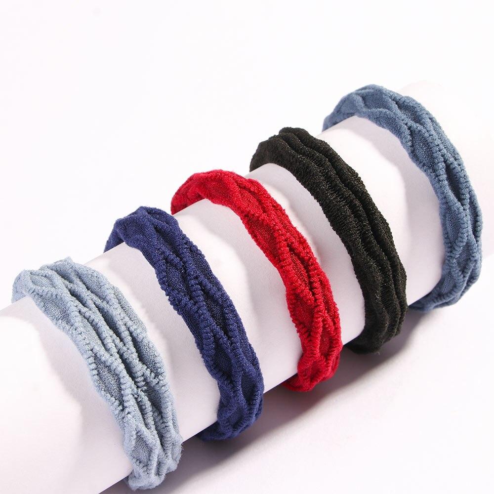 5 unids/lote nueva base elástica de bandas de goma Hairband Simple chicas sombreros de Color sólido diadema de las mujeres de la moda accesorios para el cabello