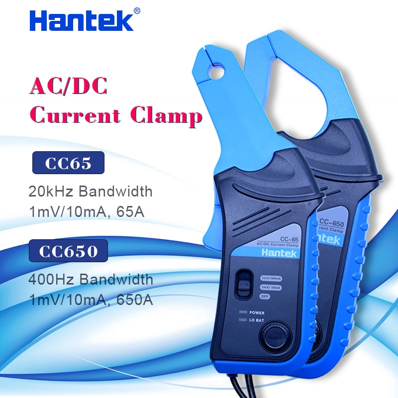 Hantek راسم AC/DC الحالي المشبك التحقيق CC-65 CC-650 20KHz/400Hz عرض النطاق الترددي 1mV/10mA 65A/650A مع BNC التوصيل