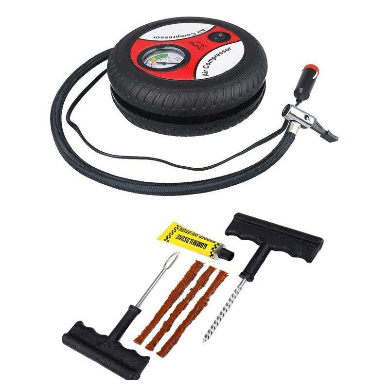 12V Tragbare Luft Kompressor Rad 260Psi Reifen Inflator Pumpe Auto Hilfs Werkzeuge Reifen Inflation Pumpe Mit Reifen Reparatur Werkzeug