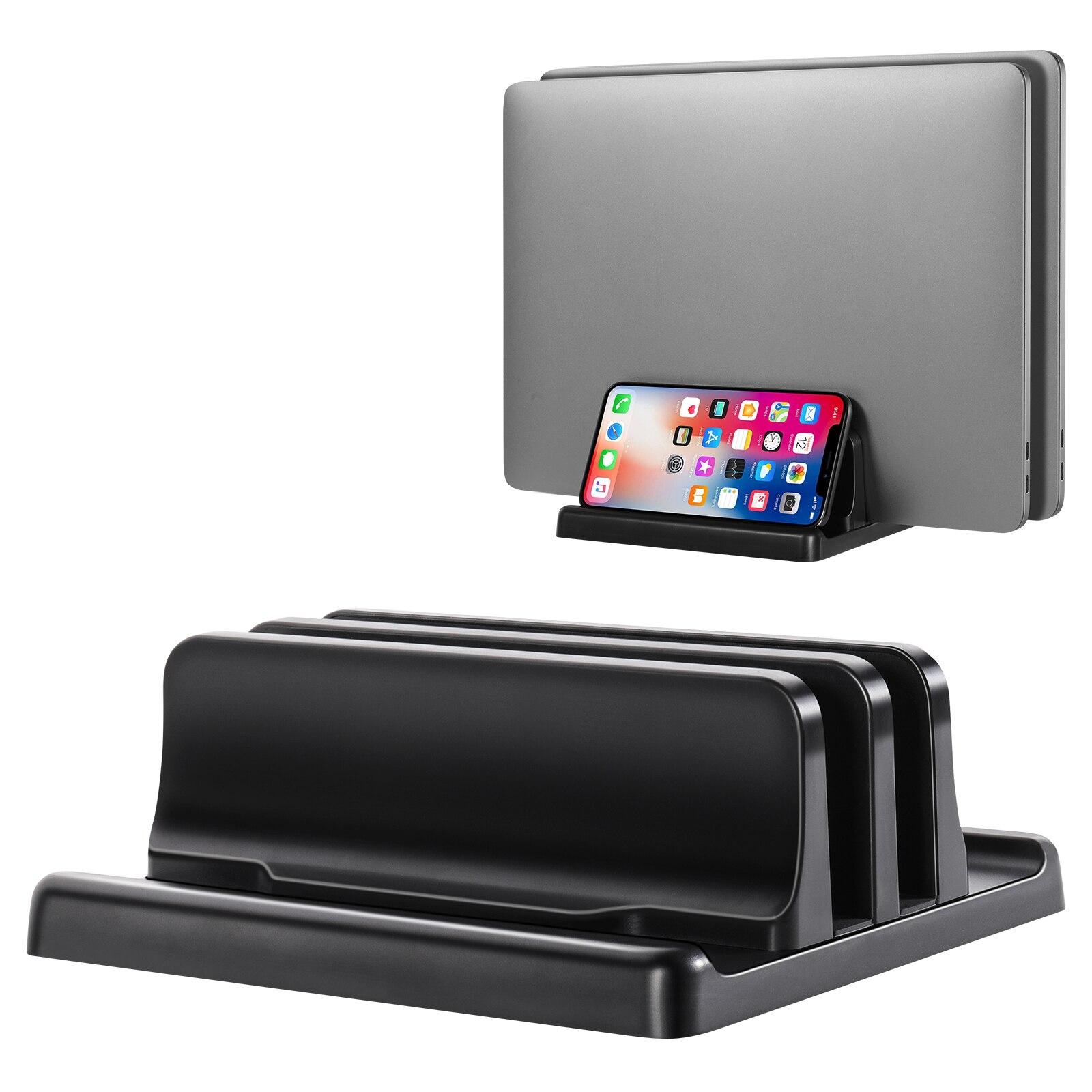 Vertical Laptop Stand Holder Plastic Adjustable Desktop Notebook Dock Space-Saving 3 In 1