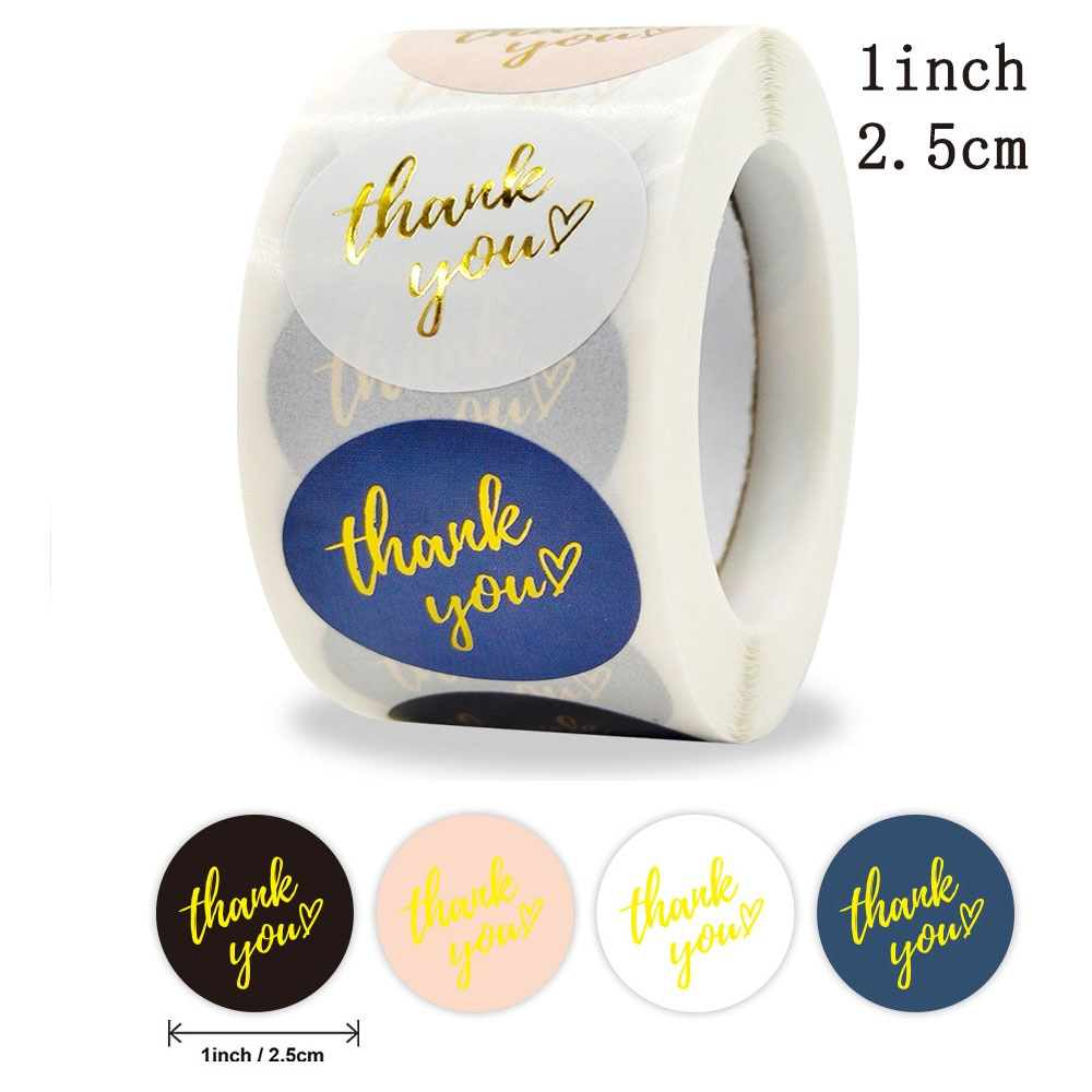 Qiduo 500Pcs/Roll Thank You Stickers Handmade Sticker Circle Stationery thank you for order Gift Seal Labels thank you sticker 500pcs pack thank you stickers gloss stickers round stationery thank you for your order seal labels thank you sticker