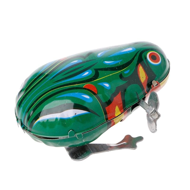 Metal Wind-up Jumping Frog Clockwork Tin Toys Children Funny  Game Vintage Doll недорого