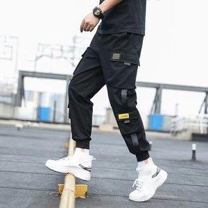 Men's Side Pockets Cargo Harem Pants 2020 Ribbons Black Hip Hop Casual Male Joggers Trousers Fashion Casual Streetwear Pants