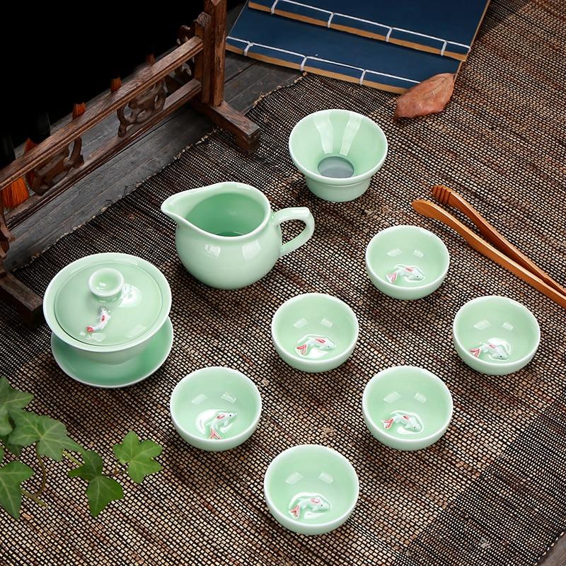 Longquan-طقم شاي من السيراميك ، سيلادون ، غلاية سيراميك ، فنجان شاي Gaiwan ، أسماك ، كونغ فو ، إبريق شاي صيني ، فكرة هدية للأصدقاء