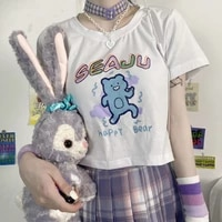 summer mini sexy short t shirt 2021 new women fashion harajuku funny bear print loose t shirt y2k kawaii sweet vintage tops tees