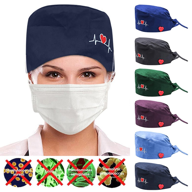 New Button Embroidered Hat Solid Color Operating Room Hat For Doctor Nurse Female Beautician Dustpro